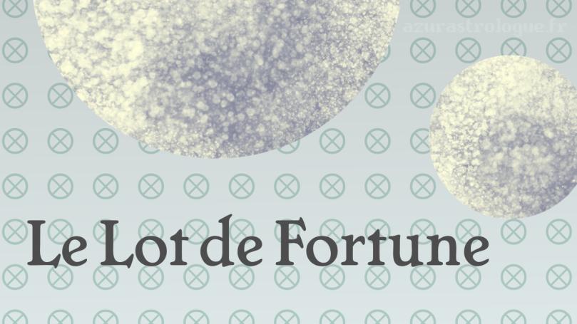 """""""Le Lot de Fortune"""" sur fond de motif du glyphe du Lot de Fortune, avec une illustration de deux Lunes"""