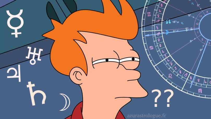le template du meme Futurama avec le personnage qui plisse les yeux d'un air sceptique, entouré de symboles astrologiques et d'un bout de thème astral
