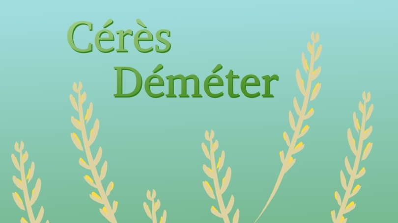 """le texte """"Cérès Déméter"""" écrit en vert sur fond bleu-vert, avec des gerbes de blé de part et d'autre"""